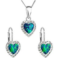 EVOLUTION GROUP 39161.1 zelený synt. opál súprava dekorovaná kryštálmi Swarovski® (925/1000, 2 g) - Darčeková sada šperkov