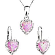 EVOLUTION GROUP 39161.1 ružový synt. opál súprava dekorovaná kryštálmi Swarovski® (925/1000, 2 g) - Darčeková sada šperkov
