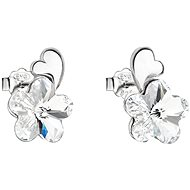 Earrings EVOLUTION GROUP 31263.1 Stud Flowers Decorated with Swarovski® Crystals (925/1000, 1.3g, White)