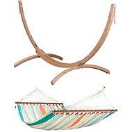 La Siesta Colada síť s tyčemi double Curacao + LA Siesta Canoa stojan pro double houpací síť wood