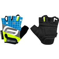 Cyklistické rukavice Force SQUARE, fluo-modré
