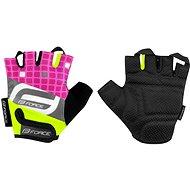 Force SQUARE, fluo-ružové - Cyklistické rukavice