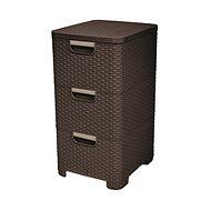 Curver Rattan Style skrinka 3x14 L farba tmavo hnedá - Úložný box