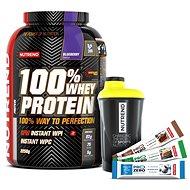 Nutrend 100% Whey Protein, 2250g + shaker Nutrend černožlutý + 3x PROZERO 65g - Sada