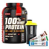 Nutrend 100% Whey Protein, 2250g, jahoda + shaker Nutrend černožlutý + 3x PROZERO 65g - Sada