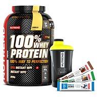 Nutrend 100% Whey Protein, 2250g, vanilka + shaker Nutrend černožlutý + 3x PROZERO 65g - Sada