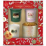 YANKEE CANDLE Vianočná darčeková súprava, svietnik a sampler 3× 49 g - Darčeková sada