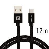 Swissten textilný dátový kábel USB-C 1,2 m čierny