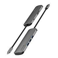 Swissten USB-C HUB 6-IN-1 (USB-C PD, 3× USB 3.0, SD, MICRO SD) Aluminium