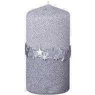 Válec 60x120 s páskem stříbrná svíčka - Vianočná sviečka