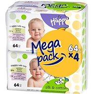 BELLA HAPPY Baby hodváb a bavlna (4x64 ks) - Detské vlhčené obrúsky