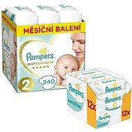 PAMPERS Premium Care veľkosť 2 Mini (240 ks) + PAMPERS Sensitive (12 × 56 ks)