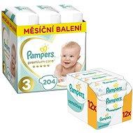 PAMPERS Premium Care veľkosť 3 Midi (204 ks) + PAMPERS Sensitive (12 × 56 ks)