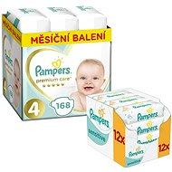 PAMPERS Premium Care veľkosť 4 Maxi (168 ks) + PAMPERS Sensitive (12 × 56 ks)
