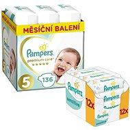 PAMPERS Premium Care veľkosť 5 Junior (136 ks) +PAMPERS Sensitive (12 × 56 ks)