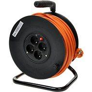 PremiumCord predlžovací kábel 230 V 25 m bubon, 4× zásuvka, oranžový - Napájací kábel