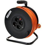 PremiumCord predlžovací kábel 230V 50m bubon, 4x zásuvka, oranžový - Napájací kábel