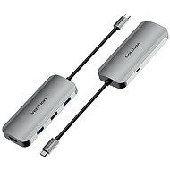 Vention USB-C to HDMI / USB 3.0 x 3 /PD Docking Station 0.15M Gray Aluminum