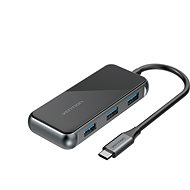 Vention Type-C (USB-C) to HDMI / 3x USB3.0 / RJ-45 / PD Docking Station 0.15m Gray Mirrored Surface - Dokovacia stanica