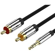 Vention 3,5 mm Jack Male to 2× RCA Male Audio Cable 3 m Black Metal Type - Audio kábel