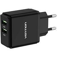 Vention Dual Quick 3.0 USB-A Wall Charger (18 W + 18 W) Black - Nabíjačka do siete