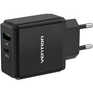 Vention USB-A Quick 3.0 18 W + USB-C PD 20 W Wall Charger Black - Nabíjačka do siete