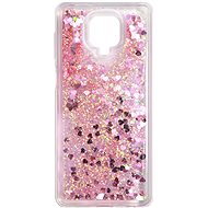 Kryt na mobil iWill Glitter Liquid Heart Case pre Xiaomi Redmi Note 9 Pro Pink - Kryt na mobil