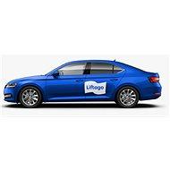 Samolepka Liftago biela malá (500 × 311 mm) (iba pre vozidlá modrej farby s dverovou ochrannou lištou) - Samolepka