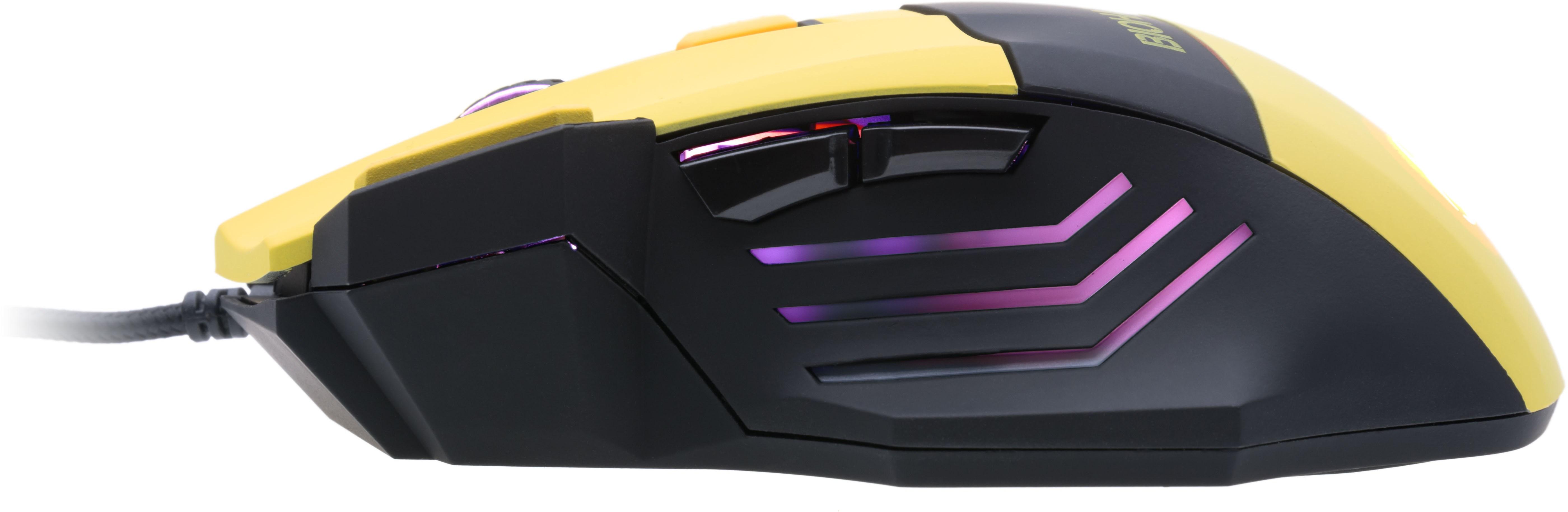 4 úrovně citlivosti, maximální citlivost 2500 DPI, 7 tlačítek, programovatelná tlačítka, pozlacený konektor, pogumovaný povrch, ergonomický tvar