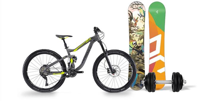 horský bicykel, snowboard, činka