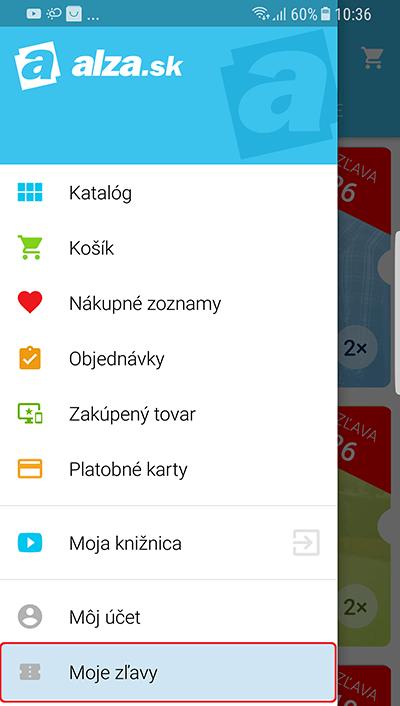 mobilná aplikácie Alza.cz - menu - Moje zľavy