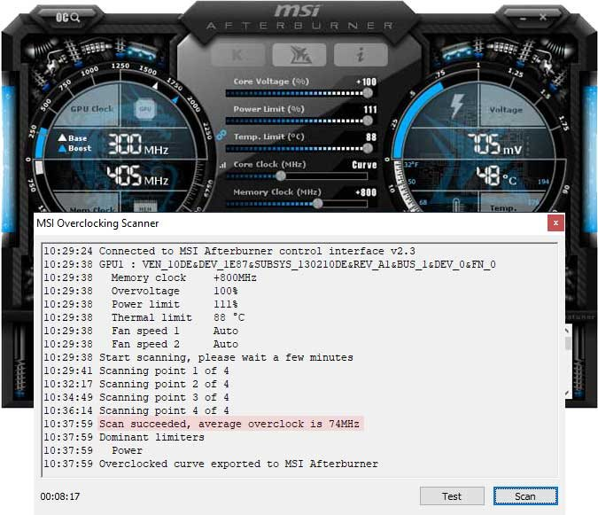 Přetaktování Inno3D RTX 2080 X2 OC; Afterburner