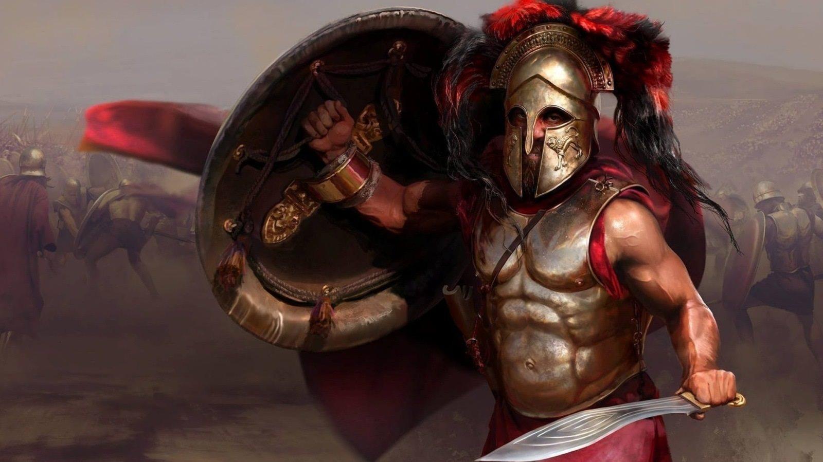 Total War Saga: Troy; screenshot: spartský válečník