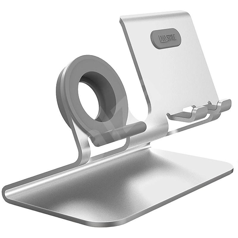 AhaStyle stojan pre mobilné telefóny a hodinky 2 in 1 strieborný - Držiak na mobil