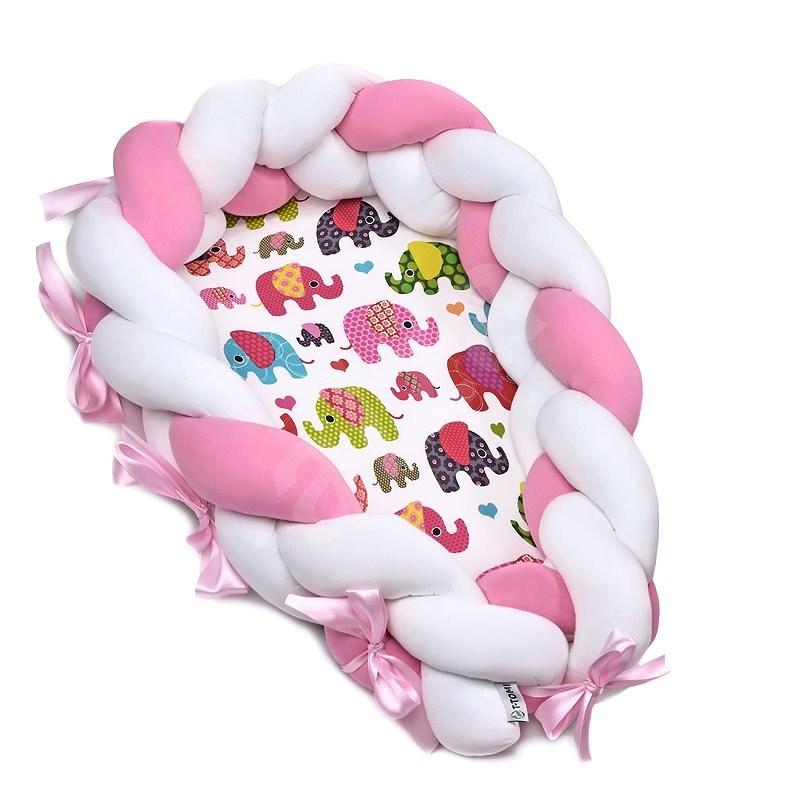T-tomi Pletené Hniezdočko 2 v 1 Pink elephant - Hniezdočko pre bábätko