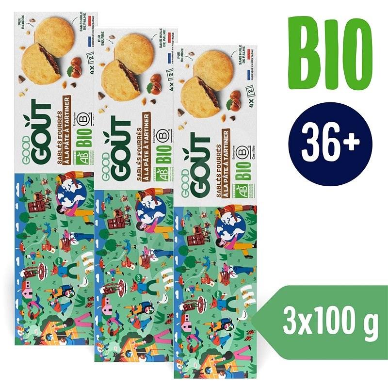 Good Gout BIO Maslové sušienky plnené lieskovoorieškovým krémom (3× 100 g) - Sušienky pre deti