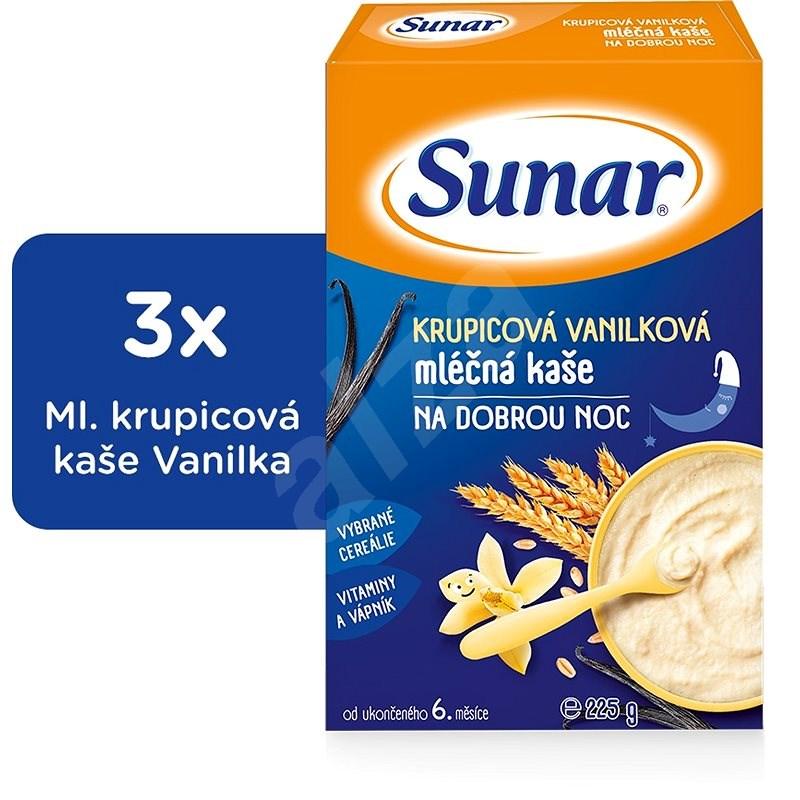 Sunarka krupicová kašička s vanilkou na dobrú noc - 3x 225g - Mliečna kaša