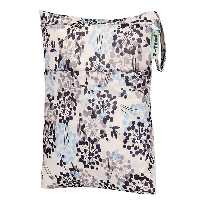 T-tomi Nepromokavé vrecko – sivé kvety - Vrecká na plienky