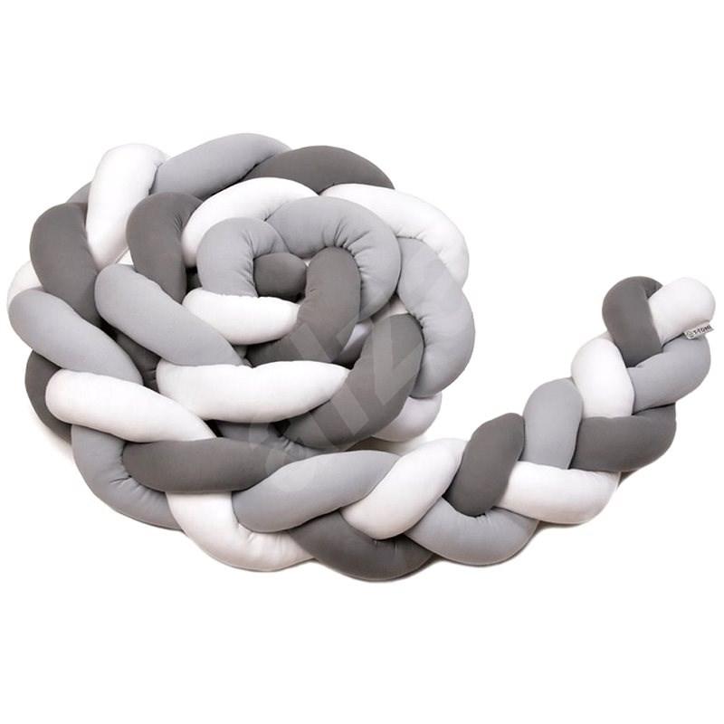 T-tomi Pletený mantinel 180 cm, white/grey/anthracite - Mantinel do postieľky