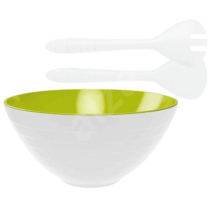 ZAK Misa so šalátovým príborom WAVE 28 cm, bielo/zelená - Miska