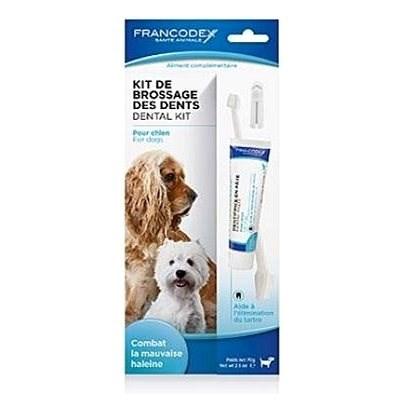Francodex Dental Kit zubná pasta 70g + kefka pes - Zubná pasta pre psa