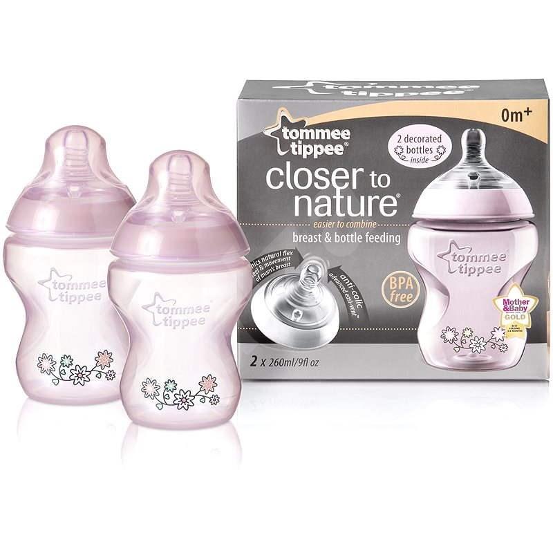 Dojčenská fľaša s obrázkami C2N 260 ml 2 ks - ružová - Detská fľaša na pitie