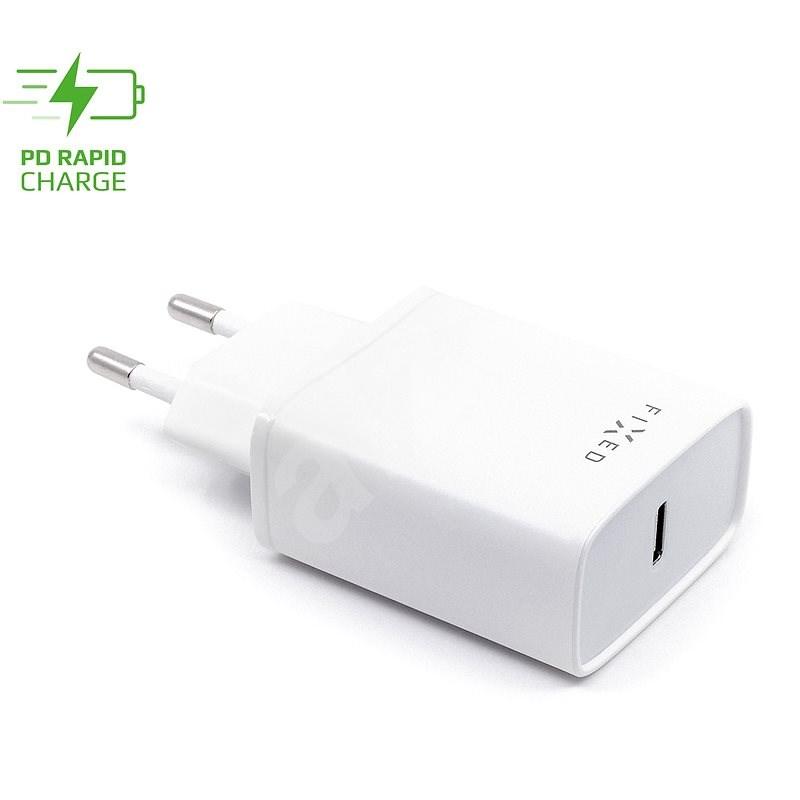 FIXED Travel s USB-C výstupom a podporou PD 18 W biela - Nabíjačka do siete