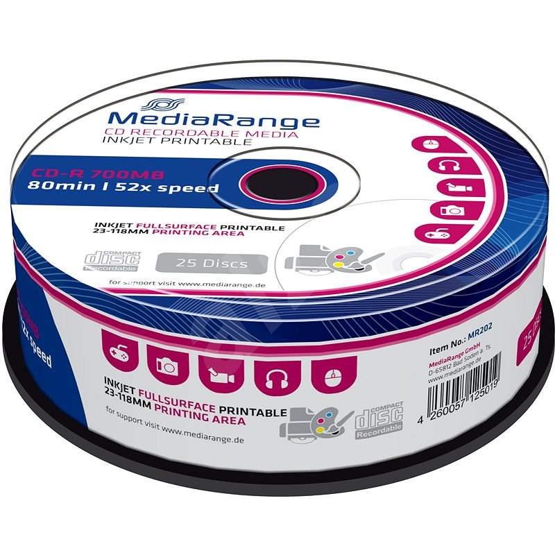 MediaRange CD-R Inkjet Fullsurface Printable 25ks cakebox - Médium