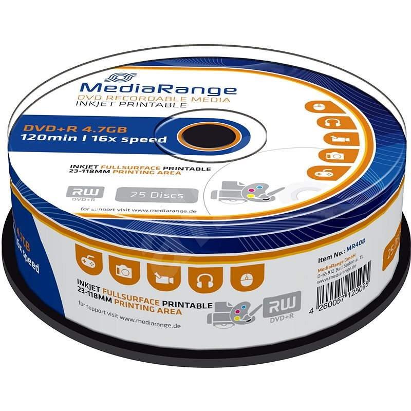 MediaRange DVD+R Inkjet Fullsurface Printable 25 ks CakeBox - Médium