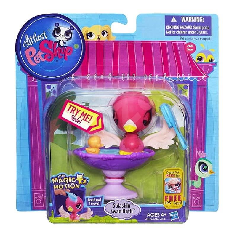 Littlest Pet Shop - Magic Motion zvířátko s doplňkem Splashin' Swan Bath -