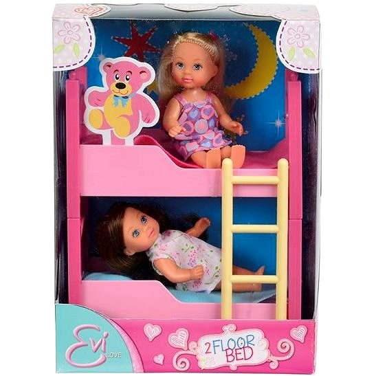 Dve Evičky s poschodovou posteľou a príslušenstvom - Sada bábik