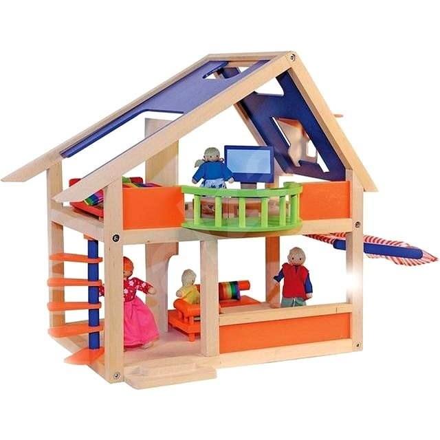 Woody Domček pre bábiky s markízou - Doplnok pre bábiky