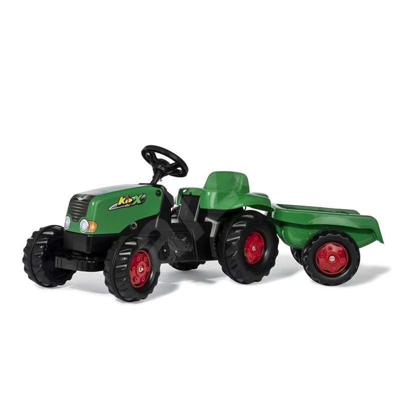 Rolly Toys Šliapací traktor Rolly Kid s vlečkou zeleno-červený - Šliapací traktor