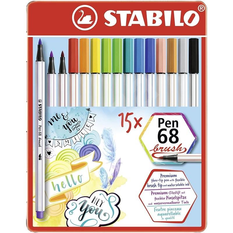 STABILO Pen 68 brush, 15 ks, kovové puzdro - Fixky